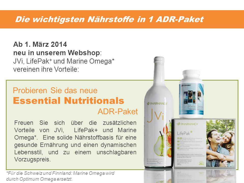 Die wichtigsten Nährstoffe in 1 ADR-Paket Freuen Sie sich über die zusätzlichen Vorteile von JVi, LifePak+ und Marine Omega*. Eine solide Nährstoffbas