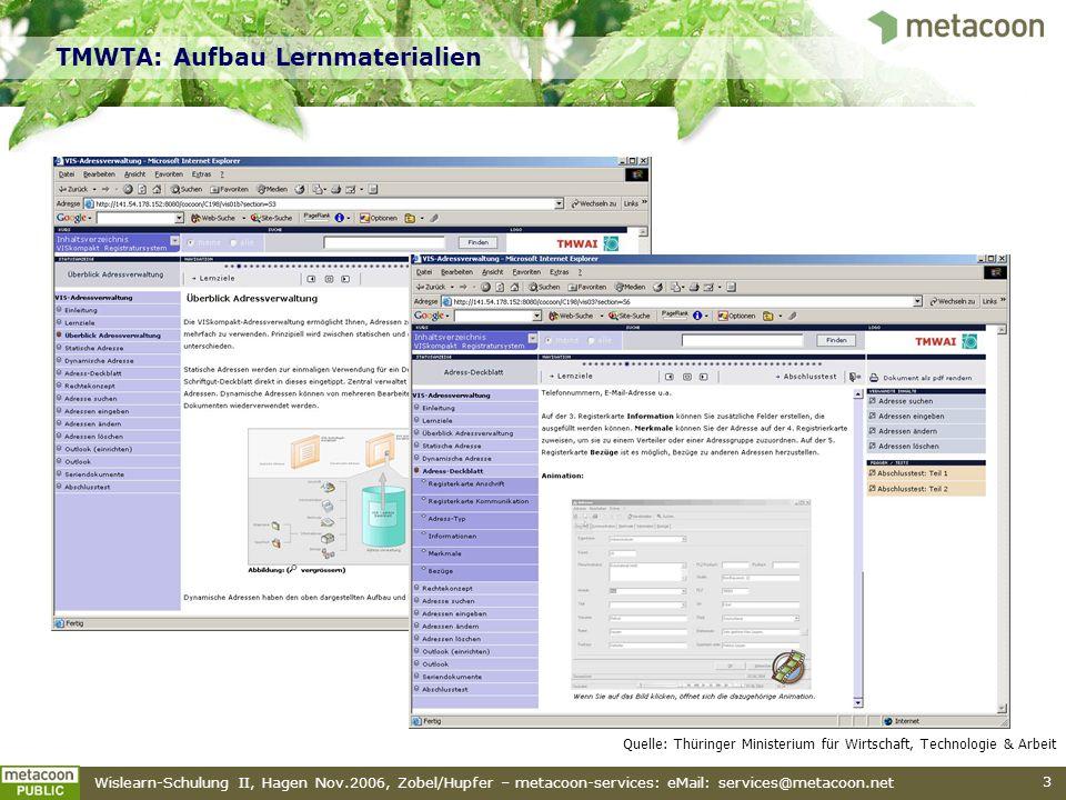 Wislearn-Schulung II, Hagen Nov.2006, Zobel/Hupfer – metacoon-services: eMail: services@metacoon.net 3 TMWTA: Aufbau Lernmaterialien Quelle: Thüringer