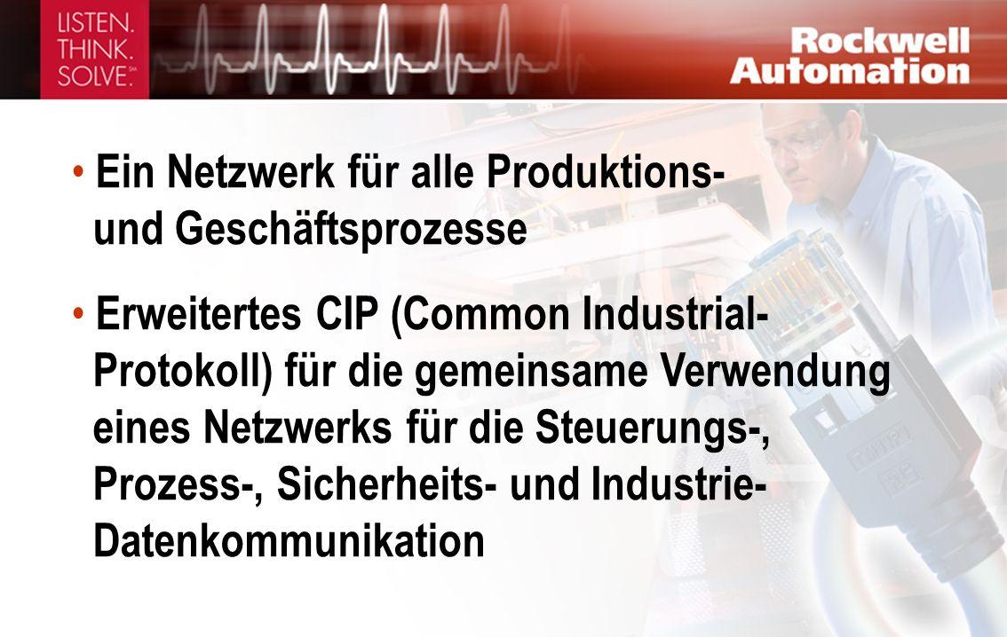 Ein Netzwerk für alle Produktions- und Geschäftsprozesse Erweitertes CIP (Common Industrial- Protokoll) für die gemeinsame Verwendung eines Netzwerks für die Steuerungs-, Prozess-, Sicherheits- und Industrie- Datenkommunikation