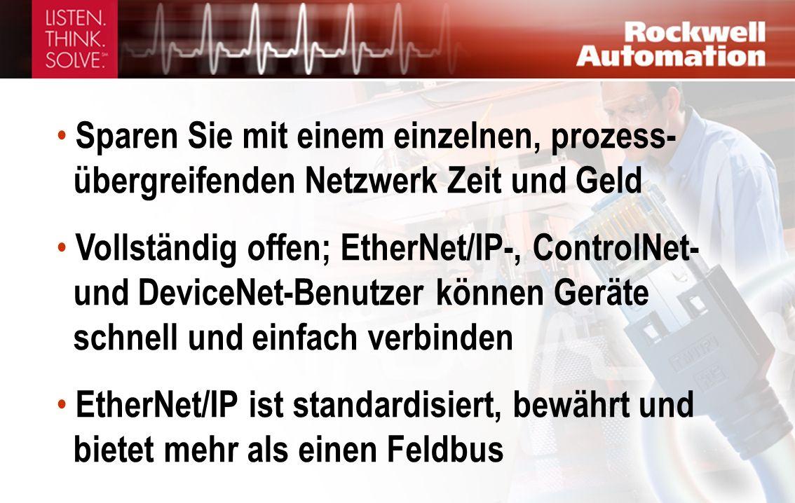 Sparen Sie mit einem einzelnen, prozess- übergreifenden Netzwerk Zeit und Geld Vollständig offen; EtherNet/IP-, ControlNet- und DeviceNet-Benutzer können Geräte schnell und einfach verbinden EtherNet/IP ist standardisiert, bewährt und bietet mehr als einen Feldbus