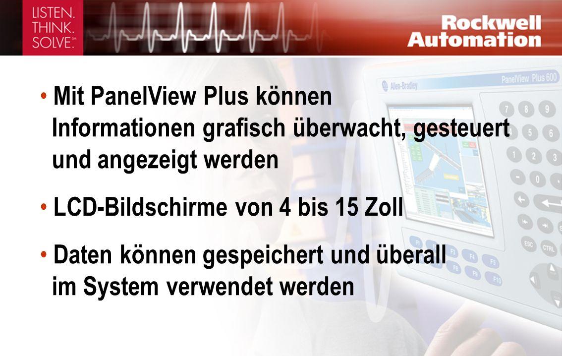 Mit PanelView Plus können Informationen grafisch überwacht, gesteuert und angezeigt werden LCD-Bildschirme von 4 bis 15 Zoll Daten können gespeichert und überall im System verwendet werden