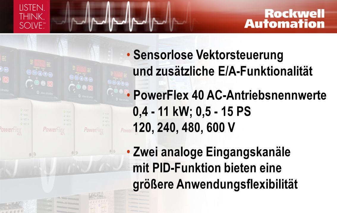 Sensorlose Vektorsteuerung und zusätzliche E/A-Funktionalität PowerFlex 40 AC-Antriebsnennwerte 0,4 - 11 kW; 0,5 - 15 PS 120, 240, 480, 600 V Zwei analoge Eingangskanäle mit PID-Funktion bieten eine größere Anwendungsflexibilität