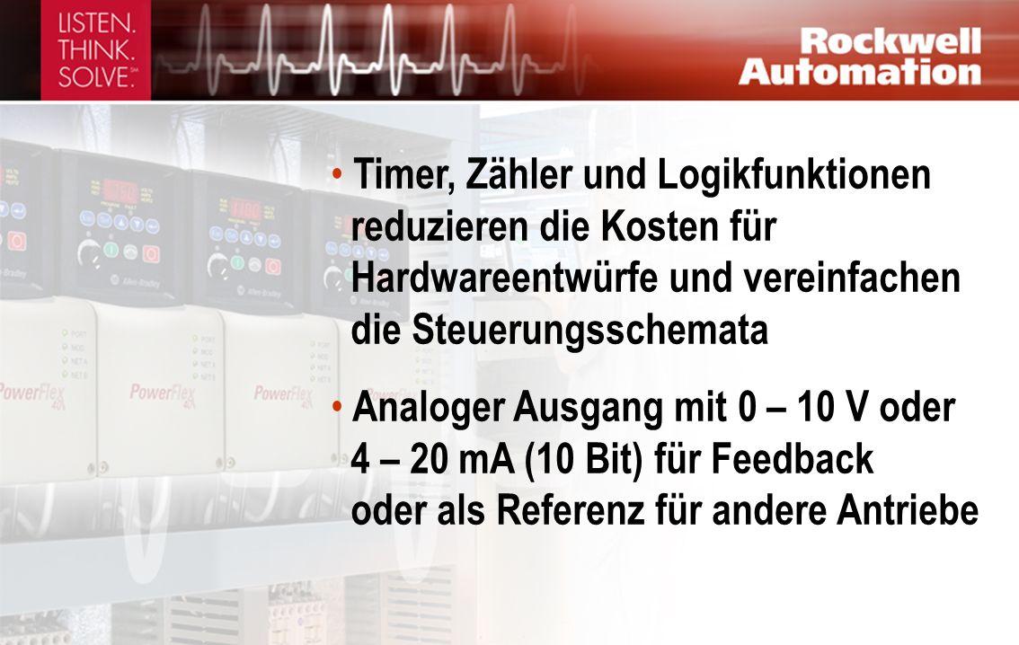 Timer, Zähler und Logikfunktionen reduzieren die Kosten für Hardwareentwürfe und vereinfachen die Steuerungsschemata Analoger Ausgang mit 0 – 10 V oder 4 – 20 mA (10 Bit) für Feedback oder als Referenz für andere Antriebe