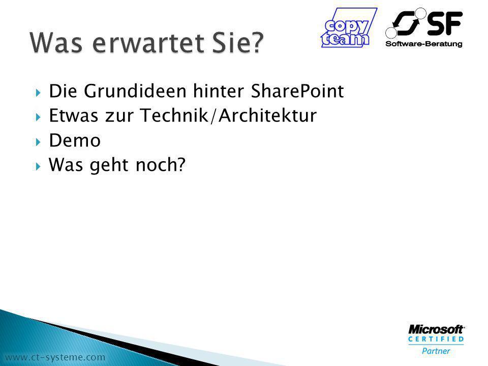 www.ct-systeme.com Die Grundideen hinter SharePoint Etwas zur Technik/Architektur Demo Was geht noch