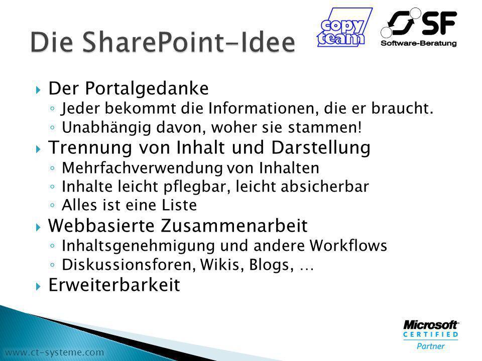 www.ct-systeme.com Microsoft SharePoint Services 3.0 Kostenloser Download für Windows Server 2003 Enthält viel Grundfunktionalität Microsoft Office SharePoint Server 2007 Erweiterungen zu SharePoint Services 3.0 Bauen auf SharePoint Services auf Kostenpflichtiges Produkt Verschiedene Edititionen