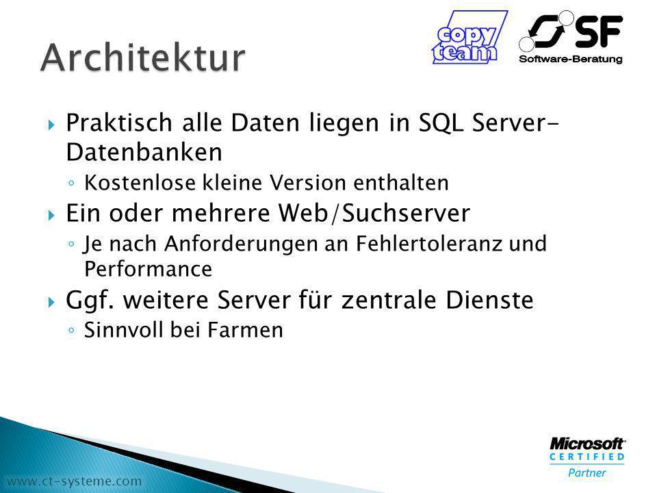 www.ct-systeme.com Praktisch alle Daten liegen in SQL Server- Datenbanken Kostenlose kleine Version enthalten Ein oder mehrere Web/Suchserver Je nach Anforderungen an Fehlertoleranz und Performance Ggf.