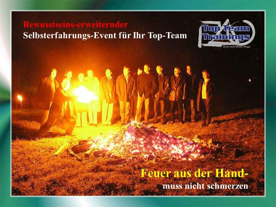 Bewusstseins-erweiternder Selbsterfahrungs-Event für Ihr Top-Team Feuer aus der Hand- muss nicht schmerzen