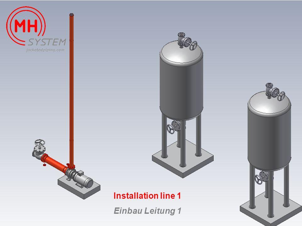 Installation line 1 Einbau Leitung 1