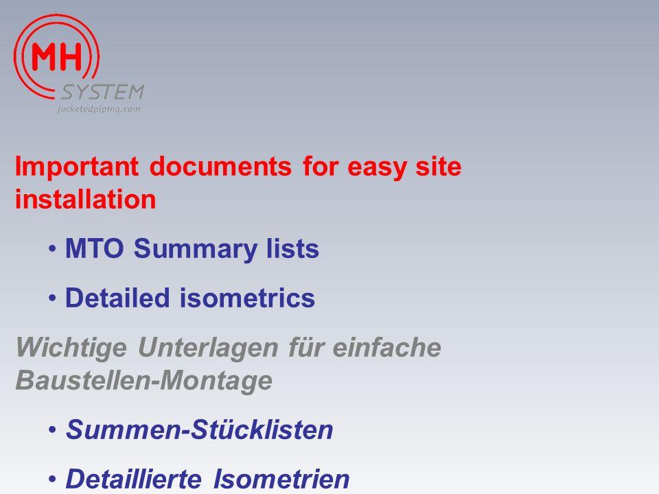 Important documents for easy site installation MTO Summary lists Detailed isometrics Wichtige Unterlagen für einfache Baustellen-Montage Summen-Stückl