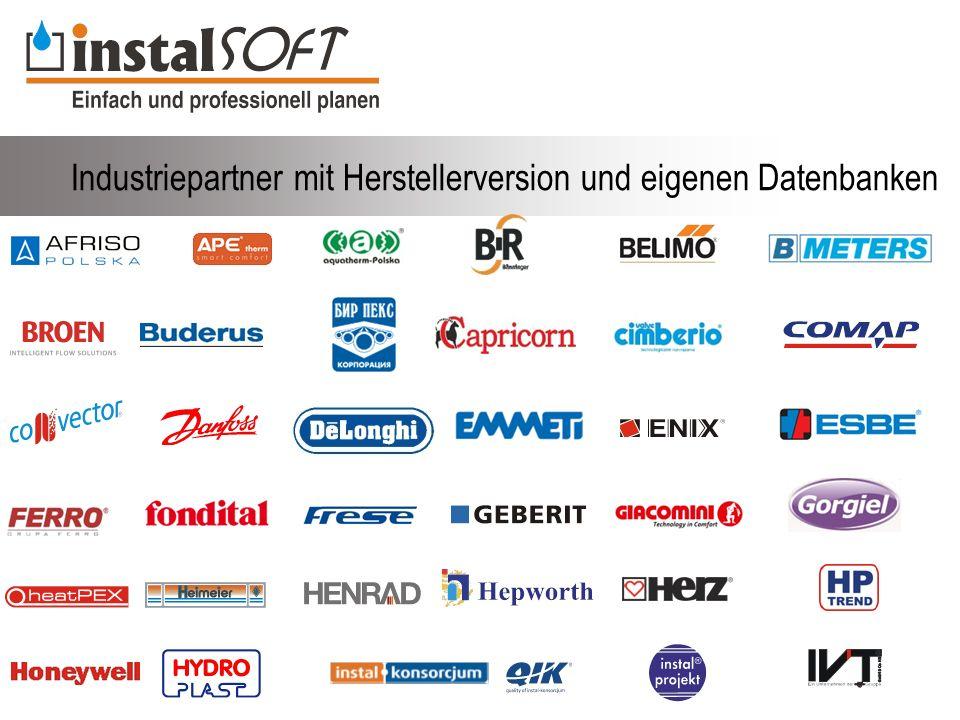 Industriepartner mit Herstellerversion und eigenen Datenbanken