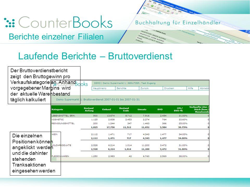 Berichte einzelner Filialen Laufende Berichte – Bruttoverdienst Der Bruttoverdienstbericht zeigt den Bruttogewinn pro Verkaufskategorie an. Anhand vor