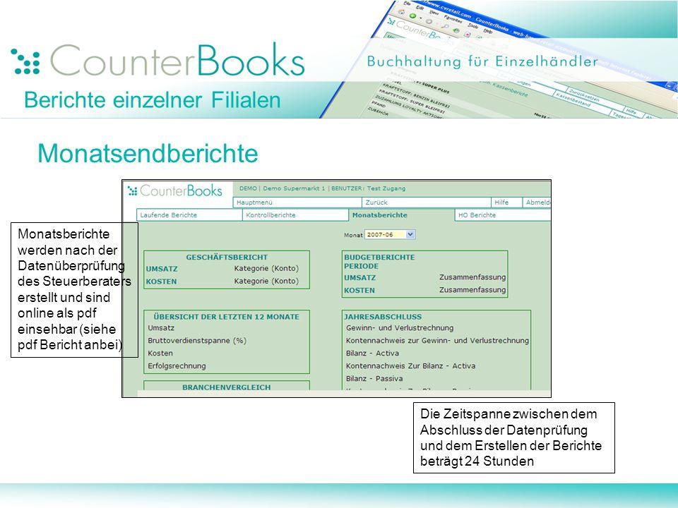 Berichte einzelner Filialen Monatsendberichte Monatsberichte werden nach der Datenüberprüfung des Steuerberaters erstellt und sind online als pdf eins