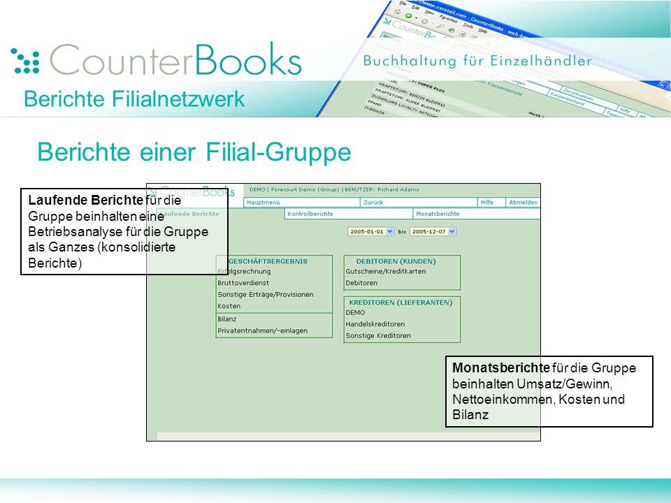 Berichte Filialnetzwerk Berichte einer Filial-Gruppe Laufende Berichte für die Gruppe beinhalten eine Betriebsanalyse für die Gruppe als Ganzes (konso