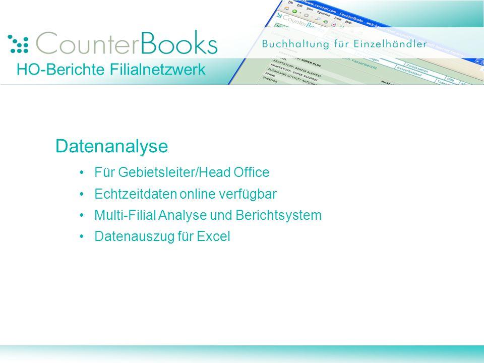 Datenanalyse Für Gebietsleiter/Head Office Echtzeitdaten online verfügbar Multi-Filial Analyse und Berichtsystem Datenauszug für Excel HO-Berichte Fil