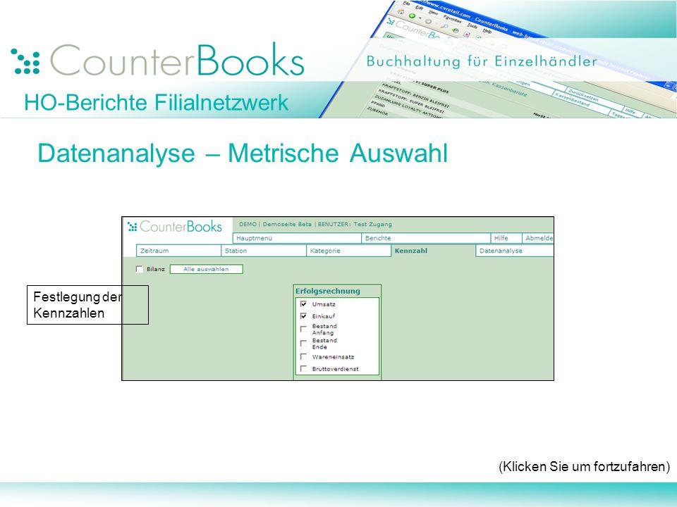 HO-Berichte Filialnetzwerk Datenanalyse – Metrische Auswahl (Klicken Sie um fortzufahren) Festlegung der Kennzahlen