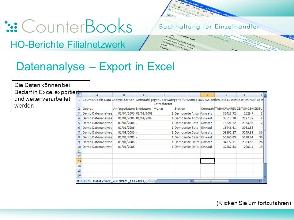 HO-Berichte Filialnetzwerk Datenanalyse – Export in Excel (Klicken Sie um fortzufahren) Die Daten können bei Bedarf in Excel exportiert und weiter ver