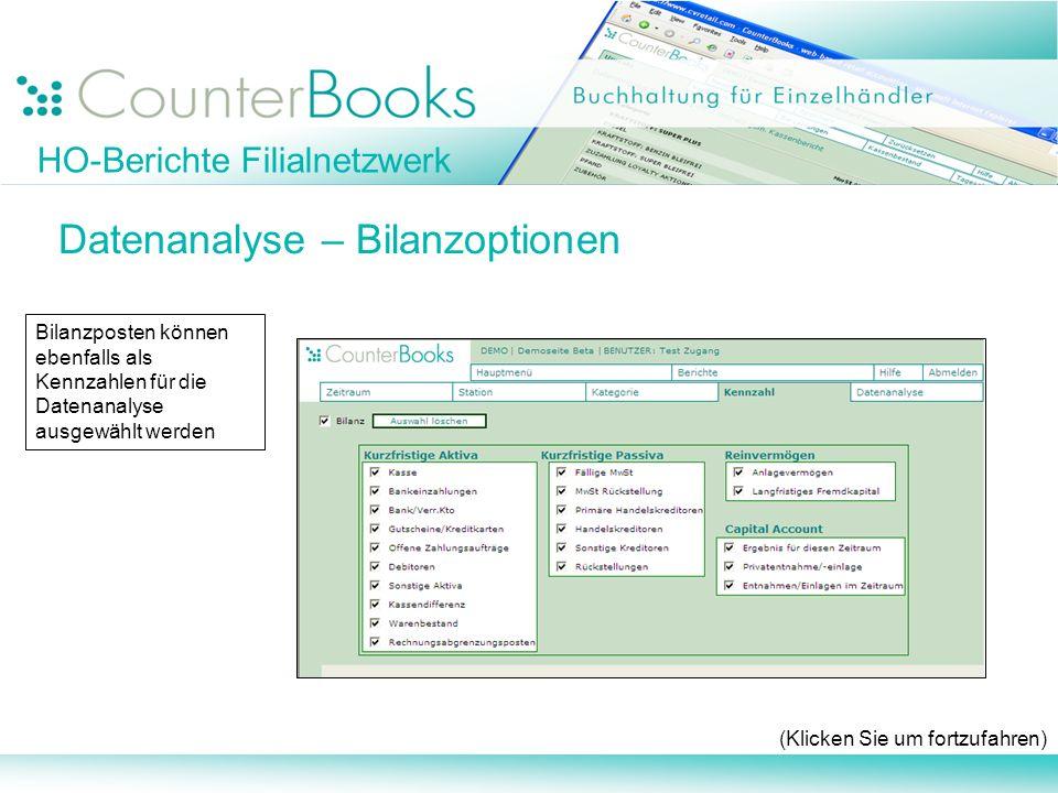 HO-Berichte Filialnetzwerk Datenanalyse – Bilanzoptionen (Klicken Sie um fortzufahren) Bilanzposten können ebenfalls als Kennzahlen für die Datenanaly