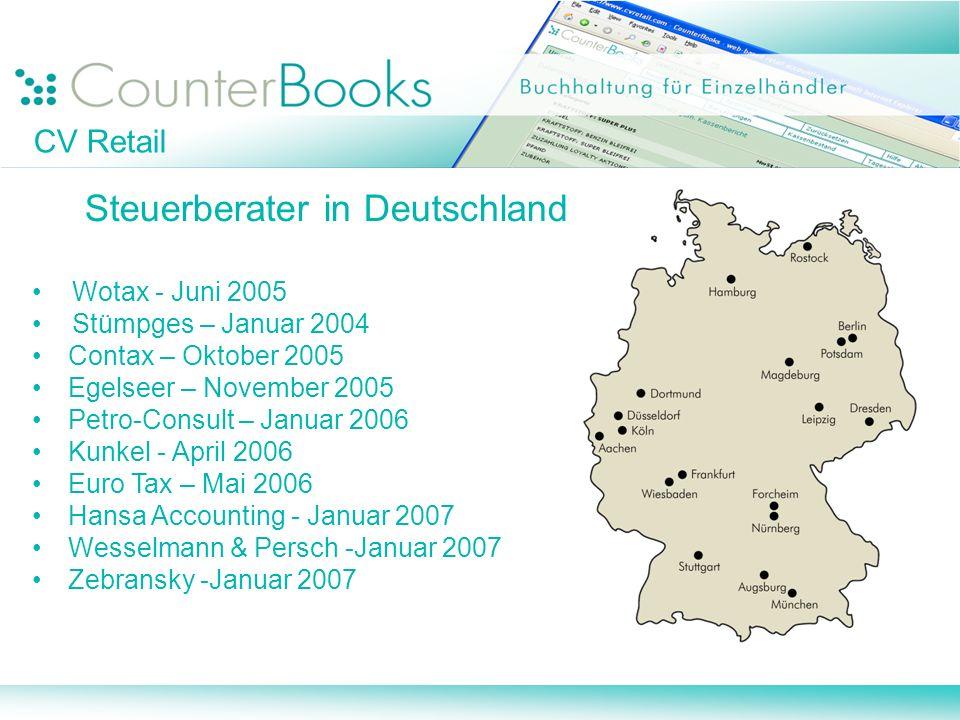 CV Retail Steuerberater in Deutschland Wotax - Juni 2005 Stümpges – Januar 2004 Contax – Oktober 2005 Egelseer – November 2005 Petro-Consult – Januar