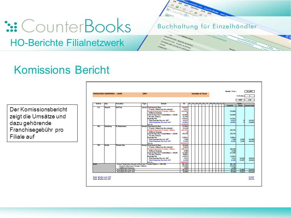 HO-Berichte Filialnetzwerk Komissions Bericht Der Komissionsbericht zeigt die Umsätze und dazu gehörende Franchisegebühr pro Filiale auf