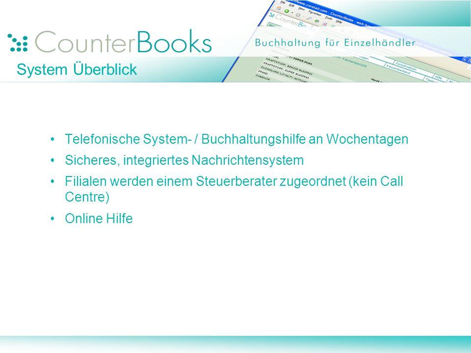 System Überblick Telefonische System- / Buchhaltungshilfe an Wochentagen Sicheres, integriertes Nachrichtensystem Filialen werden einem Steuerberater