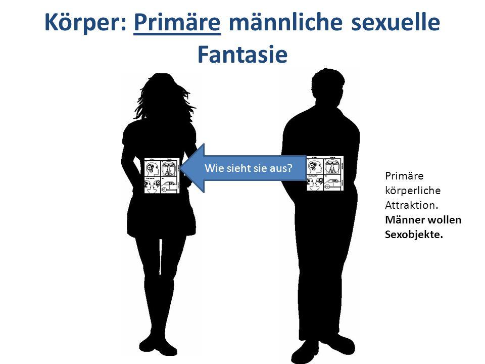 Wie sieht sie aus? Primäre körperliche Attraktion. Männer wollen Sexobjekte. Körper: Primäre männliche sexuelle Fantasie