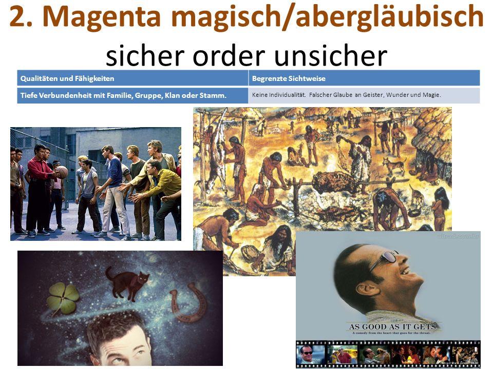 2. Magenta magisch/abergläubisch sicher order unsicher Qualitäten und FähigkeitenBegrenzte Sichtweise Tiefe Verbundenheit mit Familie, Gruppe, Klan od