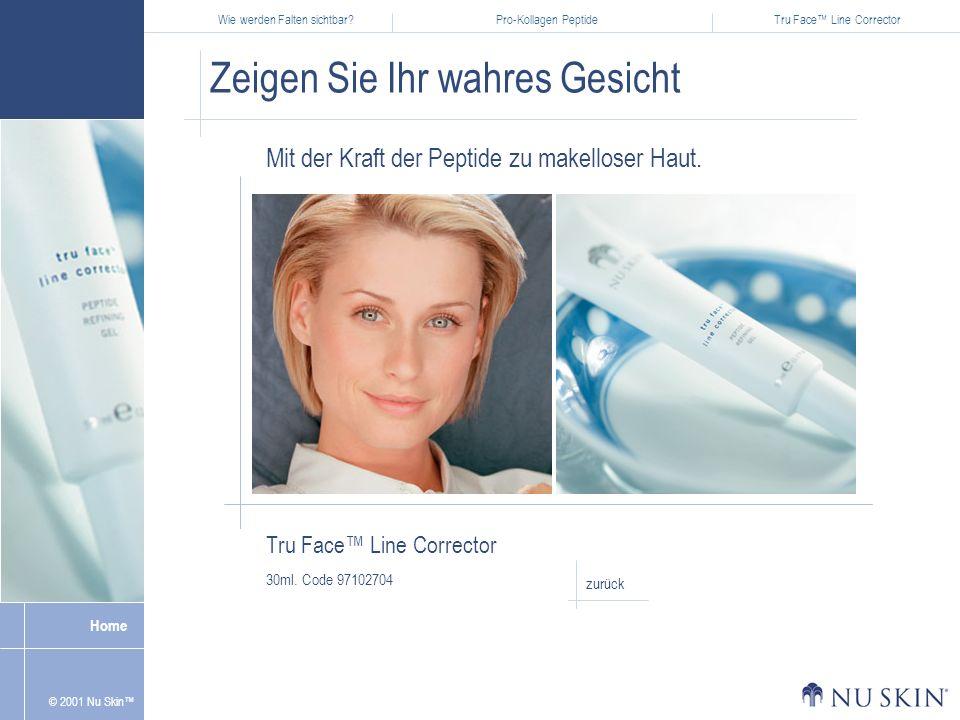 Wie werden Falten sichtbar?Pro-Kollagen PeptideTru Face Line Corrector Home © 2001 Nu Skin Zeigen Sie Ihr wahres Gesicht Tru Face Line Corrector 30ml.