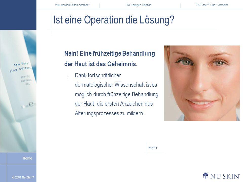 Wie werden Falten sichtbar?Pro-Kollagen PeptideTru Face Line Corrector Home © 2001 Nu Skin Ist eine Operation die Lösung.