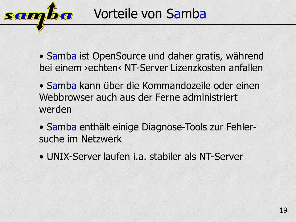 19 Vorteile von Samba Samba ist OpenSource und daher gratis, während bei einem echten NT-Server Lizenzkosten anfallen Samba kann über die Kommandozeile oder einen Webbrowser auch aus der Ferne administriert werden Samba enthält einige Diagnose-Tools zur Fehler- suche im Netzwerk UNIX-Server laufen i.a.