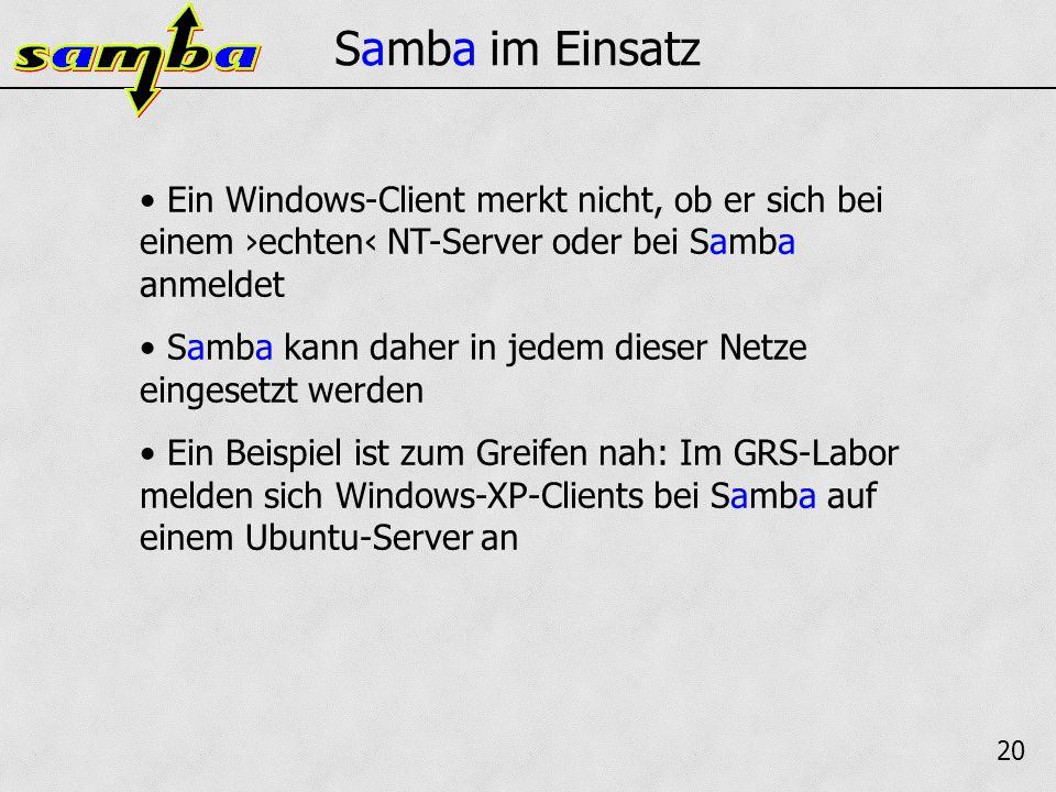 21 Fazit Samba ist eine echte Alternative zu einem echten NT-Server Die bekannten Probleme können alle behoben oder umgangen werden Das allgemeine Interesse an Samba ist groß genug, um die Weiterentwicklung des Projektes zu sichern (die nächste Version 3.0.23 ist bereits als Beta verfügbar)