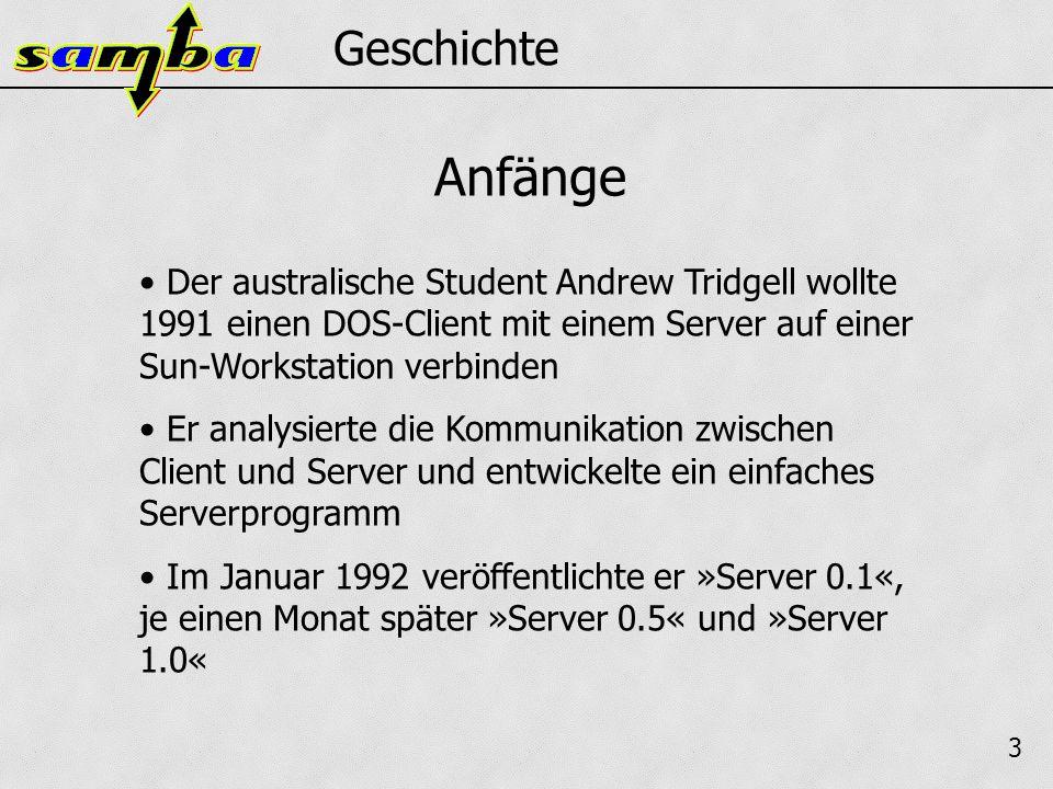 3 Geschichte Der australische Student Andrew Tridgell wollte 1991 einen DOS-Client mit einem Server auf einer Sun-Workstation verbinden Er analysierte die Kommunikation zwischen Client und Server und entwickelte ein einfaches Serverprogramm Im Januar 1992 veröffentlichte er »Server 0.1«, je einen Monat später »Server 0.5« und »Server 1.0« Anfänge