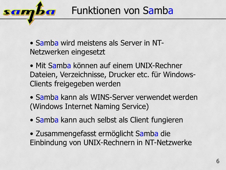 7 Funktionen von Samba Die Konfiguration erfolgt über eine Konfigurations- datei namens smb.conf Diese enthält zahlreiche Parameter wie z.B.