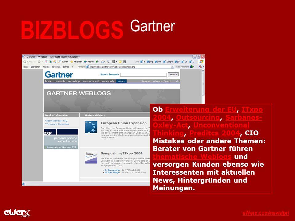eWerx.com/news/pr/eWerx.com/news/pr/_ BIZBLOGS Gartner Ob Erweiterung der EU, ITxpo 2004, Outsourcing, Sarbanes- Oxley-Act, Unconventional Thinking, Preditcs 2004, CIO Mistakes oder andere Themen: Berater von Gartner führen thematische Weblogs und versorgen Kunden ebenso wie Interessenten mit aktuellen News, Hintergründen und Meinungen.Erweiterung der EUITxpo 2004OutsourcingSarbanes- Oxley-ActUnconventional ThinkingPreditcs 2004 thematische Weblogs
