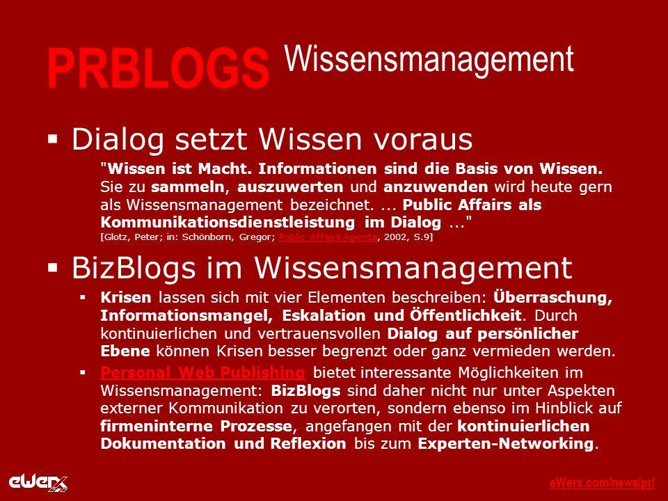 eWerx.com/news/pr/eWerx.com/news/pr/_ PRBLOGS Wissensmanagement Dialog setzt Wissen voraus Wissen ist Macht.