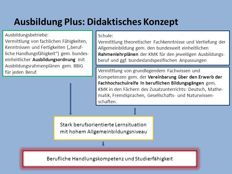 Ausbildungsbetriebe: Vermittlung von fachlichen Fähigkeiten, Kenntnissen und Fertigkeiten (beruf- liche Handlungsfähigkeit) gem. bundes- einheitlicher