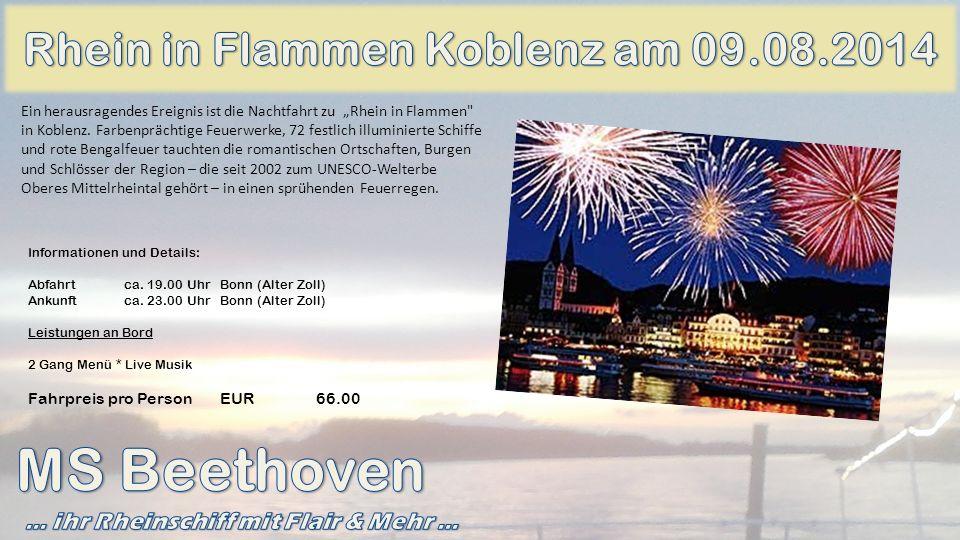 Informationen und Details: Abfahrtca. 19.00 Uhr Bonn (Alter Zoll) Ankunftca. 23.00 UhrBonn (Alter Zoll) Leistungen an Bord 2 Gang Menü * Live Musik Fa
