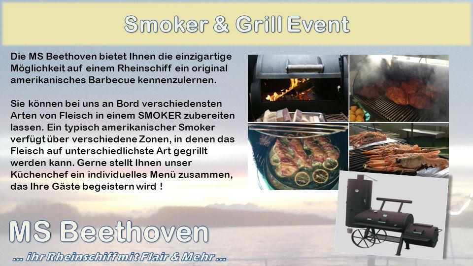 Die MS Beethoven bietet Ihnen die einzigartige Möglichkeit auf einem Rheinschiff ein original amerikanisches Barbecue kennenzulernen. Sie können bei u