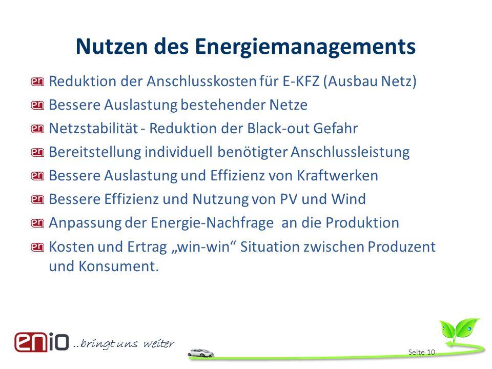 …bringt uns weiter Nutzen des Energiemanagements Reduktion der Anschlusskosten für E-KFZ (Ausbau Netz) Bessere Auslastung bestehender Netze Netzstabil