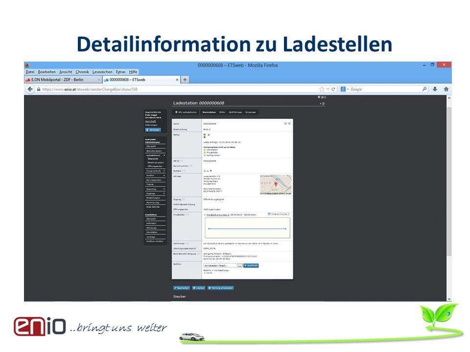 …bringt uns weiter Detailinformation zu Ladestellen
