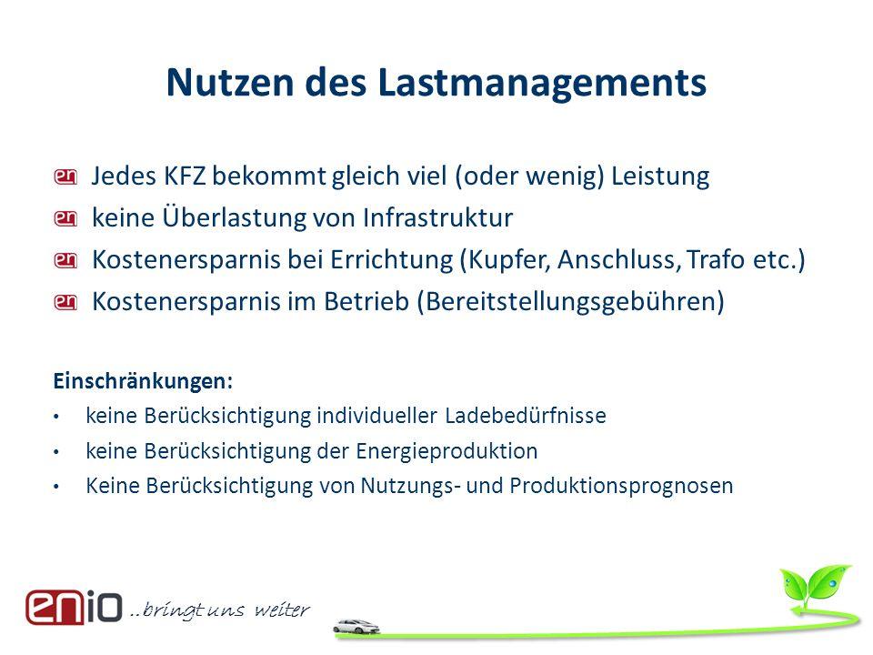 …bringt uns weiter Nutzen des Lastmanagements Jedes KFZ bekommt gleich viel (oder wenig) Leistung keine Überlastung von Infrastruktur Kostenersparnis