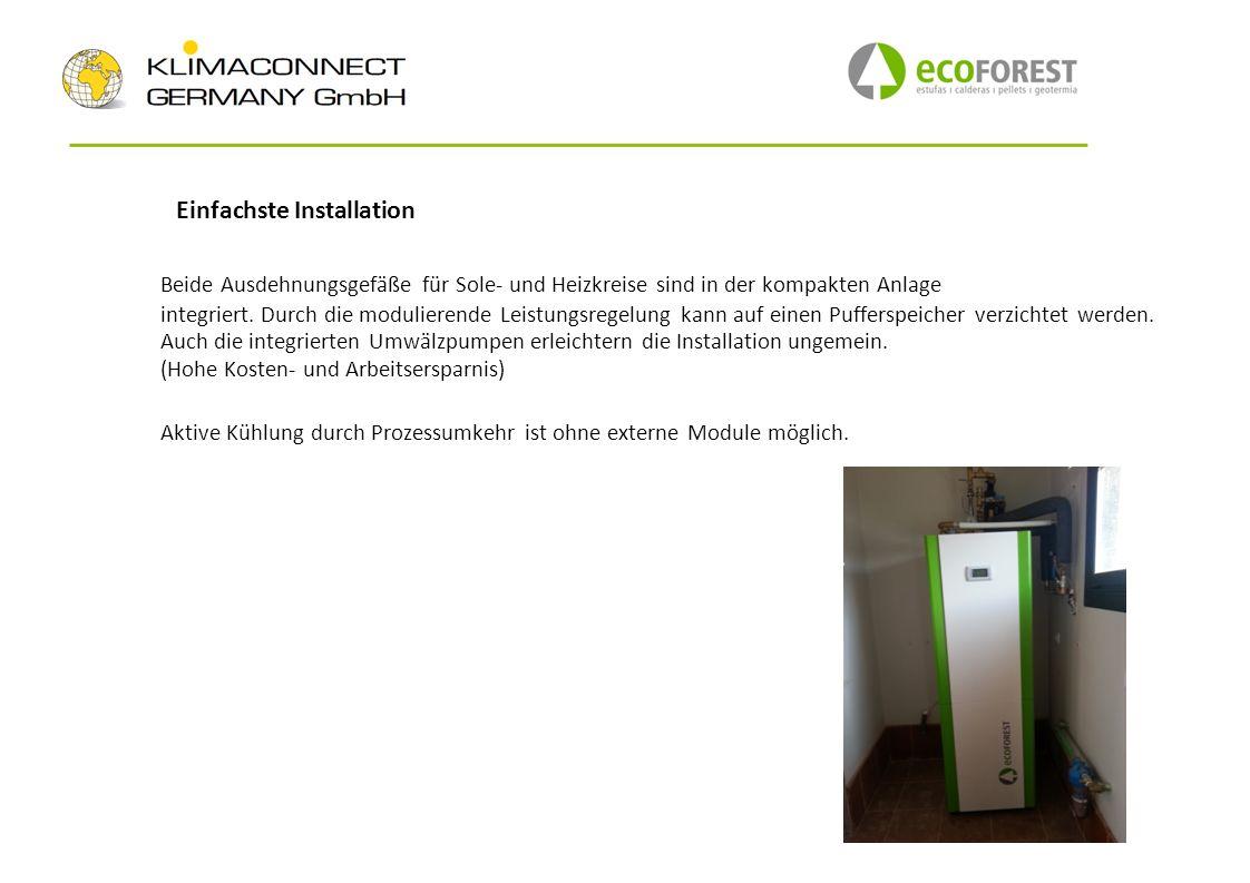 Einfachste Installation Beide Ausdehnungsgefäße für Sole und Heizkreise sind in der kompakten Anlage integriert. Durch die modulierende Leistungsregel