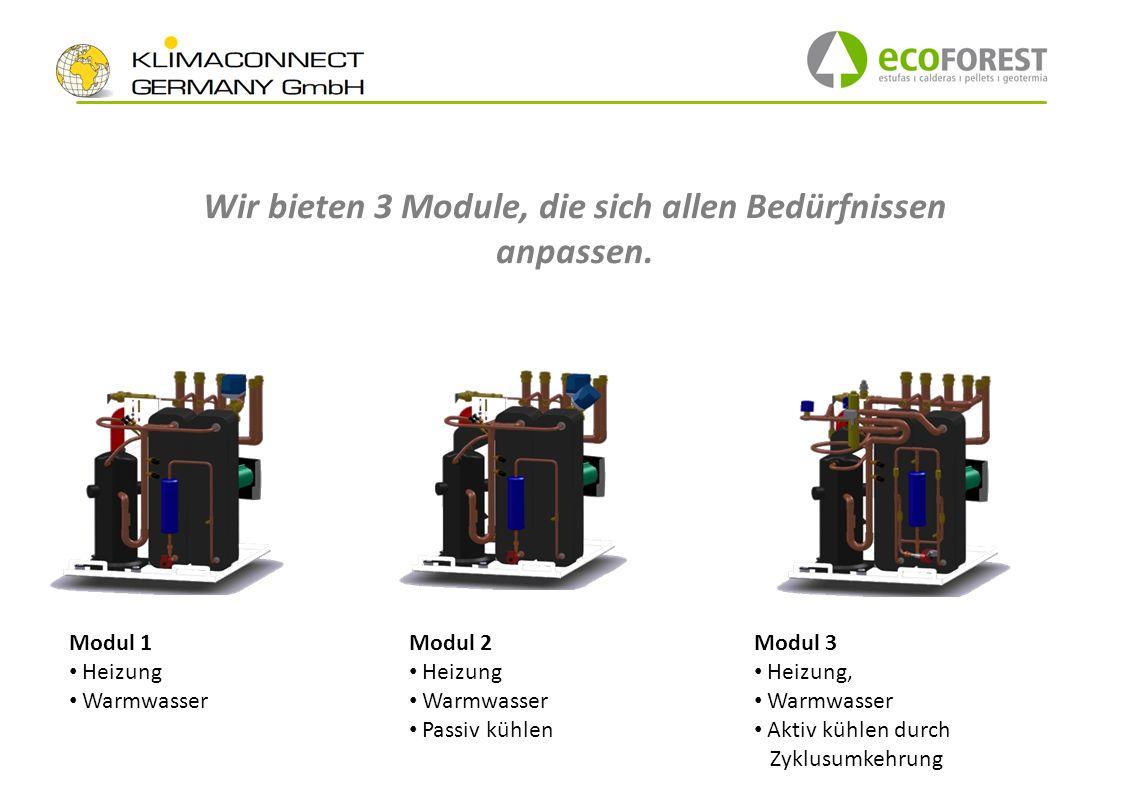 Modul 1 Heizung Warmwasser Modul 2 Heizung Warmwasser Passiv kühlen Modul 3 Heizung, Warmwasser Aktiv kühlen durch Zyklusumkehrung Wir bieten 3 Module