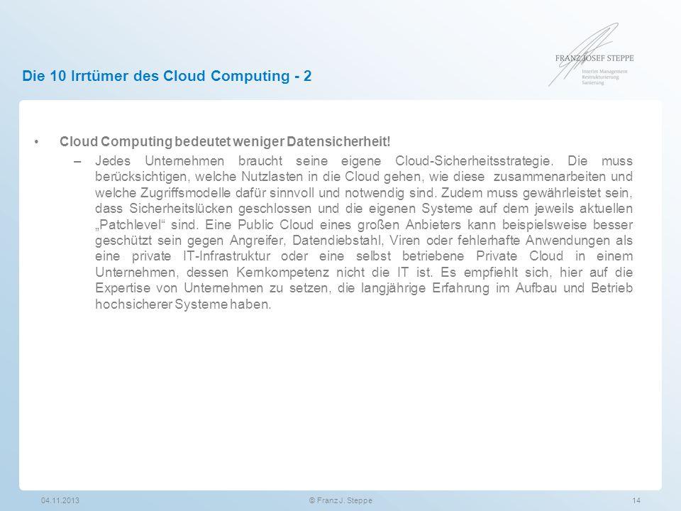 Die 10 Irrtümer des Cloud Computing - 2 Cloud Computing bedeutet weniger Datensicherheit! –Jedes Unternehmen braucht seine eigene Cloud-Sicherheitsstr
