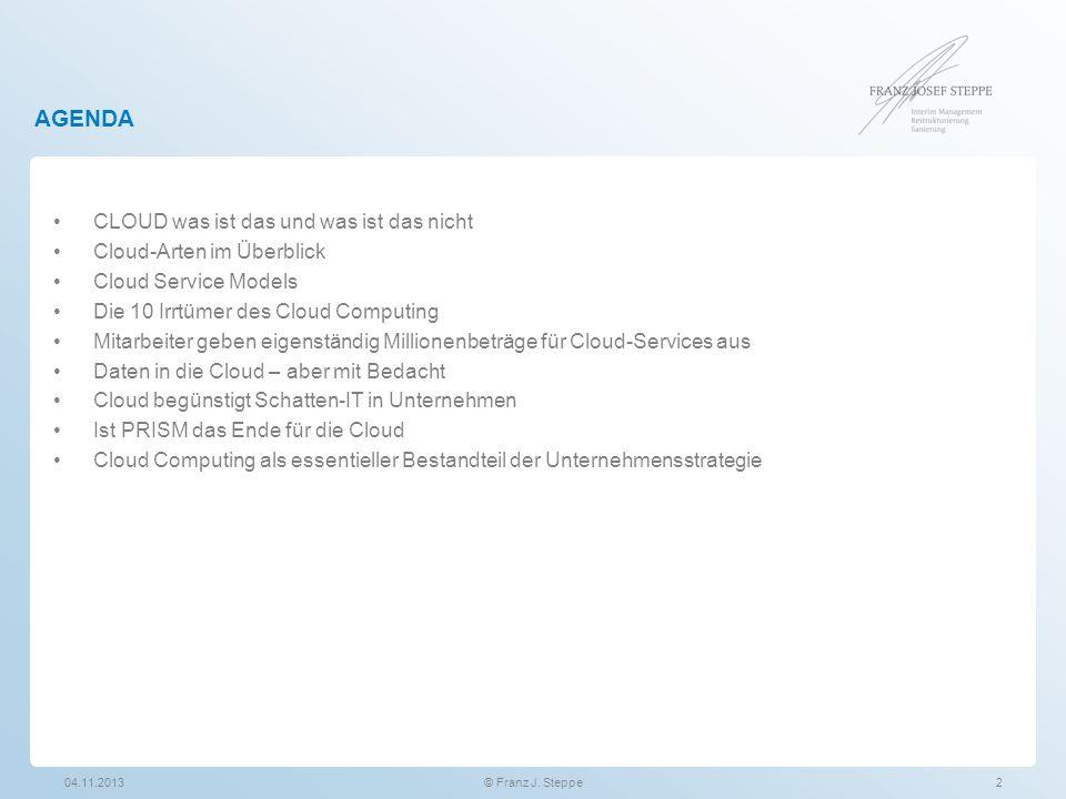 AGENDA CLOUD was ist das und was ist das nicht Cloud-Arten im Überblick Cloud Service Models Die 10 Irrtümer des Cloud Computing Mitarbeiter geben eig