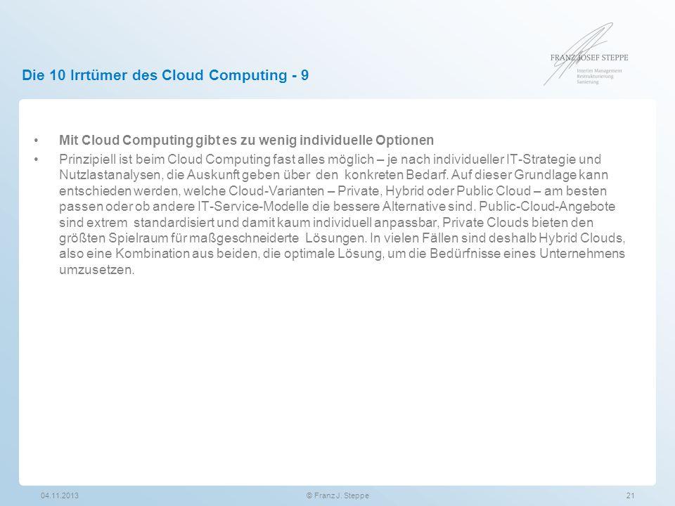 Die 10 Irrtümer des Cloud Computing - 9 Mit Cloud Computing gibt es zu wenig individuelle Optionen Prinzipiell ist beim Cloud Computing fast alles mög