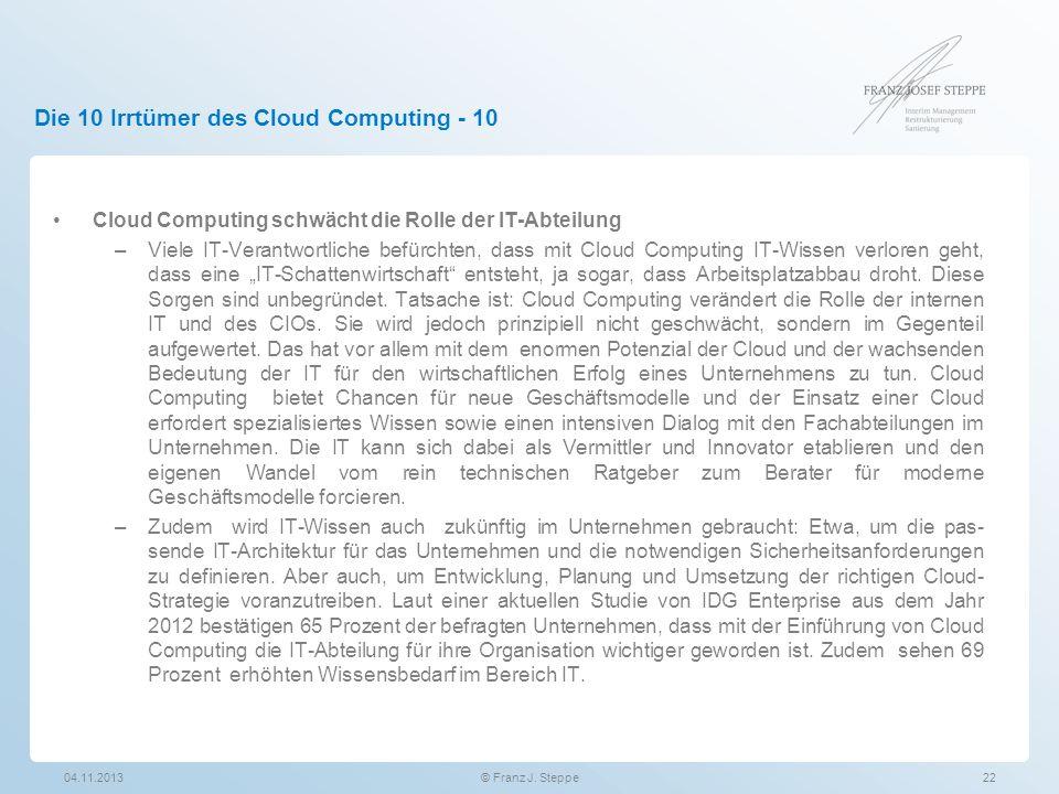 Die 10 Irrtümer des Cloud Computing - 10 Cloud Computing schwächt die Rolle der IT-Abteilung –Viele IT-Verantwortliche befürchten, dass mit Cloud Comp
