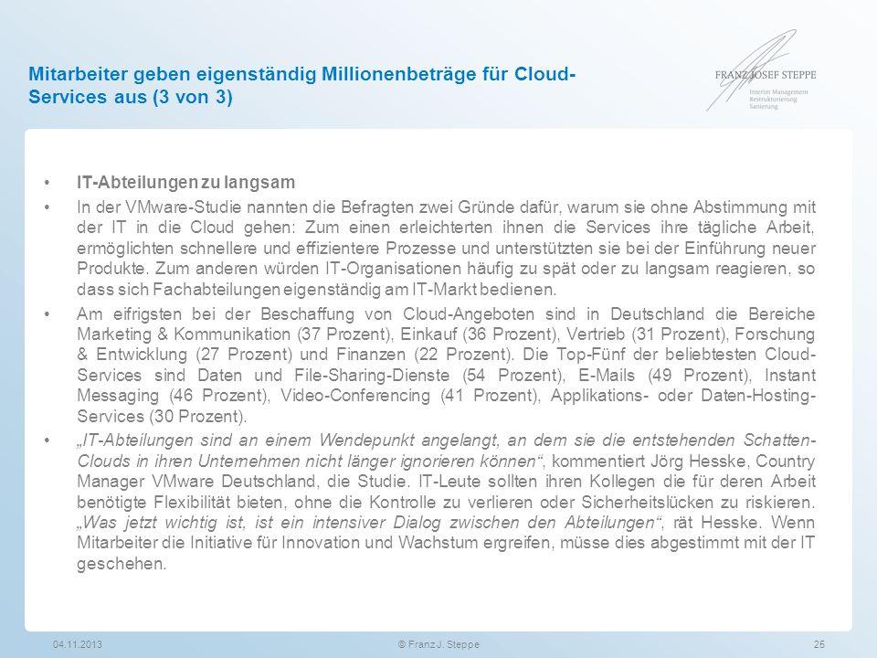 Mitarbeiter geben eigenständig Millionenbeträge für Cloud- Services aus (3 von 3) IT-Abteilungen zu langsam In der VMware-Studie nannten die Befragten