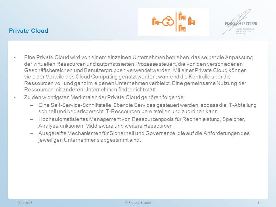 Private Cloud Eine Private Cloud wird von einem einzelnen Unternehmen betrieben, das selbst die Anpassung der virtuellen Ressourcen und automatisierte