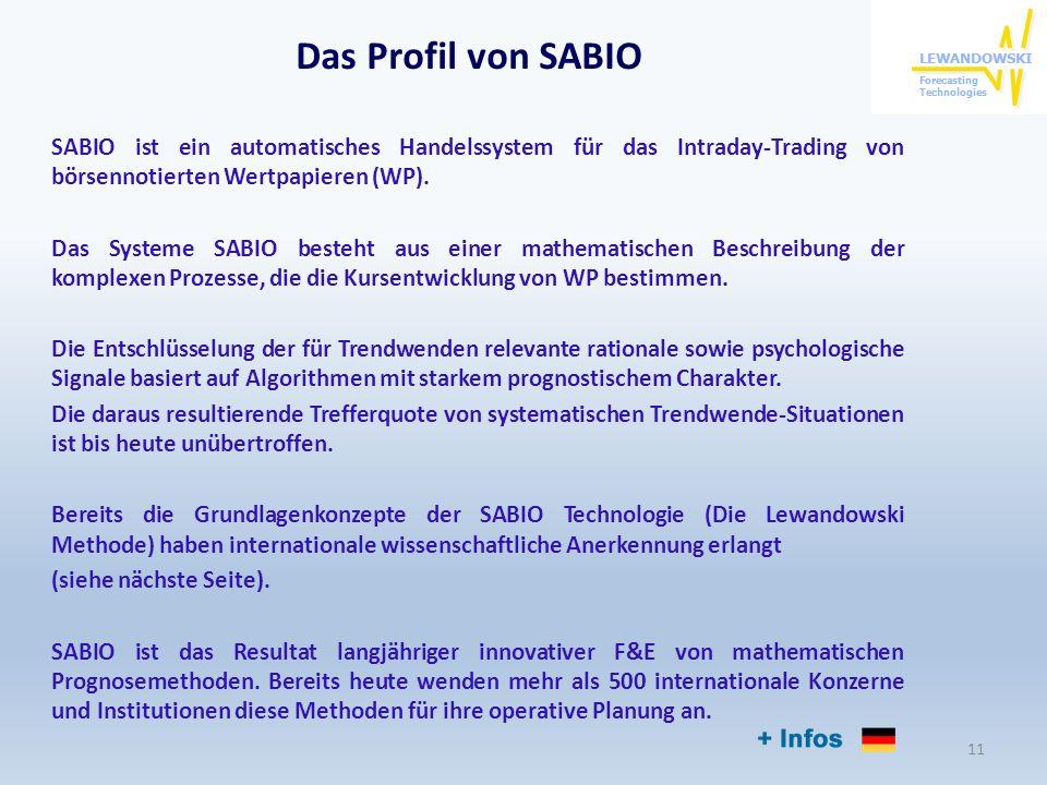 Das Profil von SABIO SABIO ist ein automatisches Handelssystem für das Intraday-Trading von börsennotierten Wertpapieren (WP). Das Systeme SABIO beste
