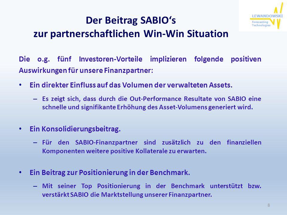 Der Beitrag SABIOs zur partnerschaftlichen Win-Win Situation Die o.g. fünf Investoren-Vorteile implizieren folgende positiven Auswirkungen für unsere